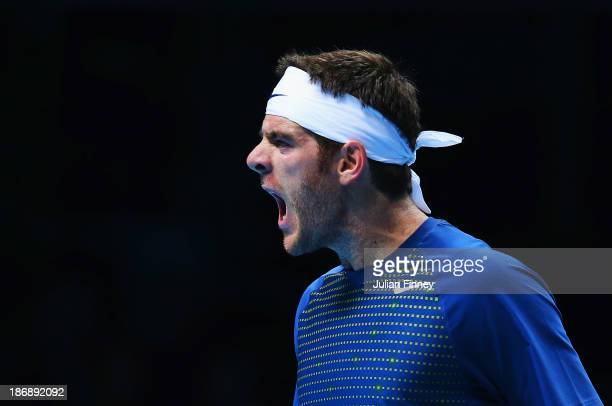 Juan Martin Del Potro of Argentina celebrates a point in his men's singles match against Richard Gasquet of France during day one of the Barclays ATP...