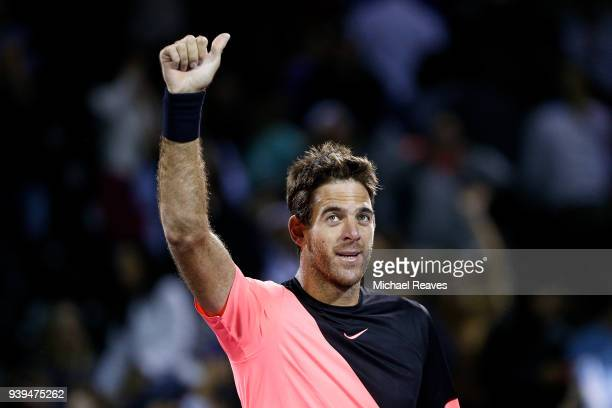 Juan Martin Del Potro of Argentina celebrates after defeating Milos Raonic of Canada in the quarterfinal match on Day 10 of the Miami Open Presented...