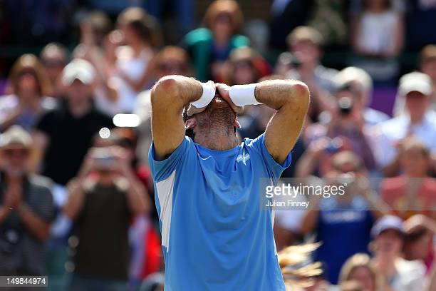 Juan Martin Del Potro of Argentina celebrates after defeating Novak Djokovic of Serbia in the Men's Singles Tennis Bronze Medal Match on Day 9 of the...