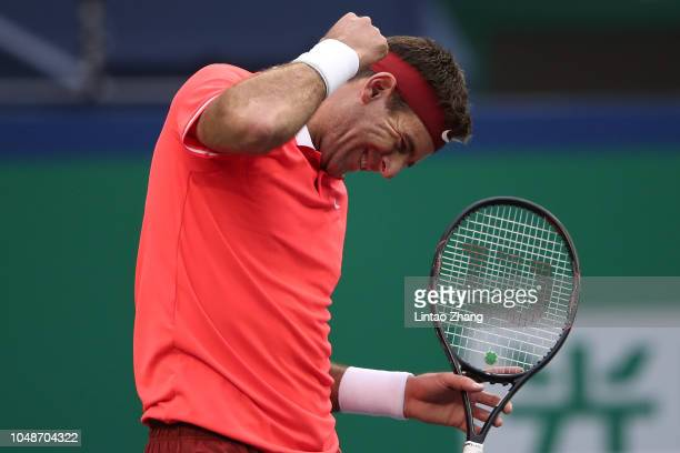 Juan Martin del Potro of Argentina celebrates after defeating Richard Gasquet of France during second round of the 2018 Rolex Shanghai Masters on Day...