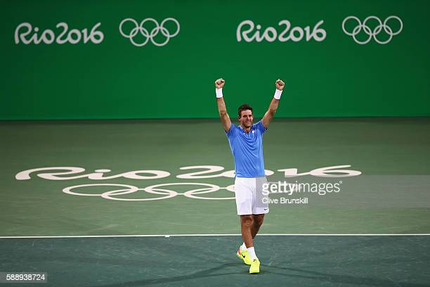 Juan Martin Del Potro of Argentina celebrates after defeating Roberto Bautista Agut of Spain in the Men's Singles Quarterfinal on Day 7 of the Rio...