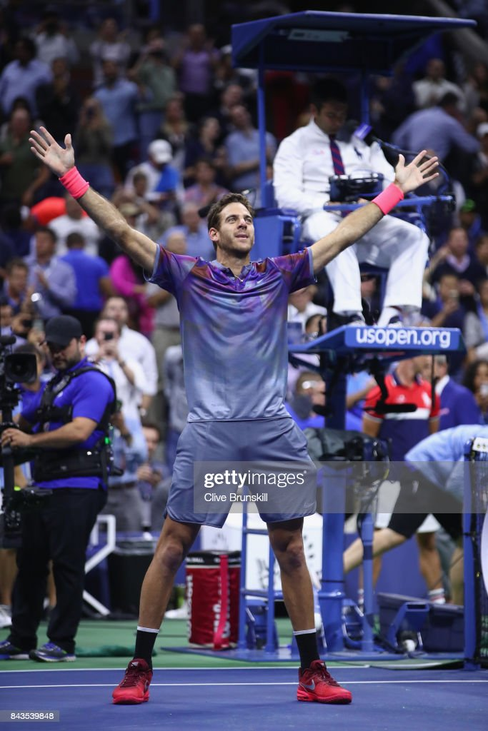 Juan Martin del Potro of Argentina celebrates after defeating Roger Federer of Switzerland in their Men's Singles Quarterfinal match on Day Ten of the 2017 US Open at the USTA Billie Jean King National Tennis Center on September 6, 2017 in the Flushing neighborhood of the Queens borough of New York City.