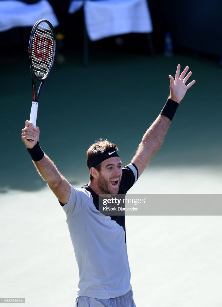 Juan Martin Del Potro of Argentina celebrates after defeating Roger Federer of Switzerland in the men's final on Day 14 of BNP Paribas Open on March 18, 2018 in Indian Wells, California.