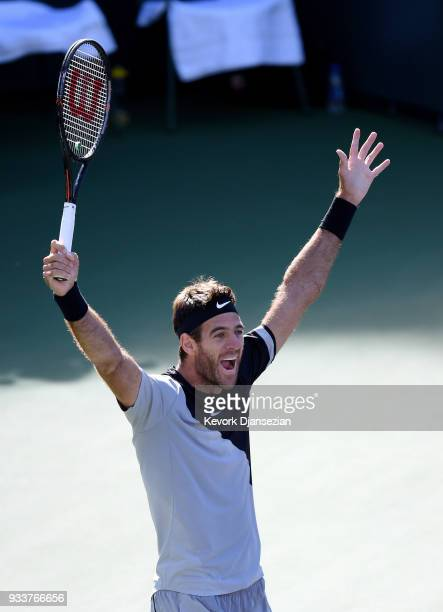 Juan Martin Del Potro of Argentina celebrates after defeating Roger Federer of Switzerland in the men's final on Day 14 of BNP Paribas Open on March...