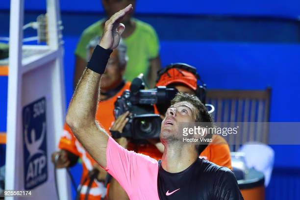 Juan Martin del Potro of Argentina celebrates after winning a match against Mischa Zverev of Germany as part of the Telcel Mexican Open 2018 at...