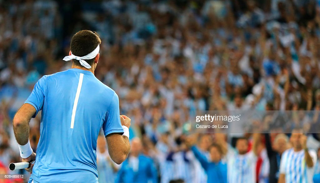 Juan Martin Del Potro of Argentina celebrates after winning against Marin Cilic of Croatia in the fourth match of the 2016 Davis Cup Final between Croatia and Argentina on November 27, 2016 in Zagreb, Croatia.