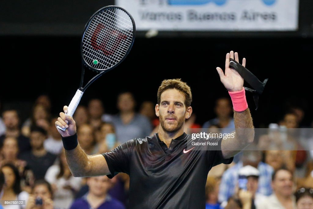 Juan Martin Del Potro of Argentina celebrates after winning an exhibition match between Juan Martin Del Potro and Nick Kyrgios at Luna Park on December 15, 2017 in Buenos Aires, Argentina.