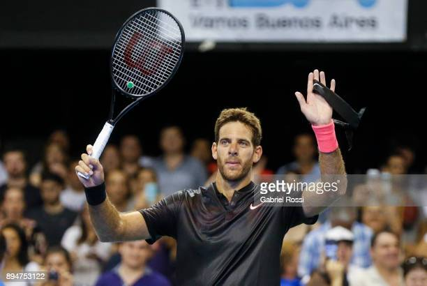 Juan Martin Del Potro of Argentina celebrates after winning an exhibition match between Juan Martin Del Potro and Nick Kyrgios at Luna Park on...