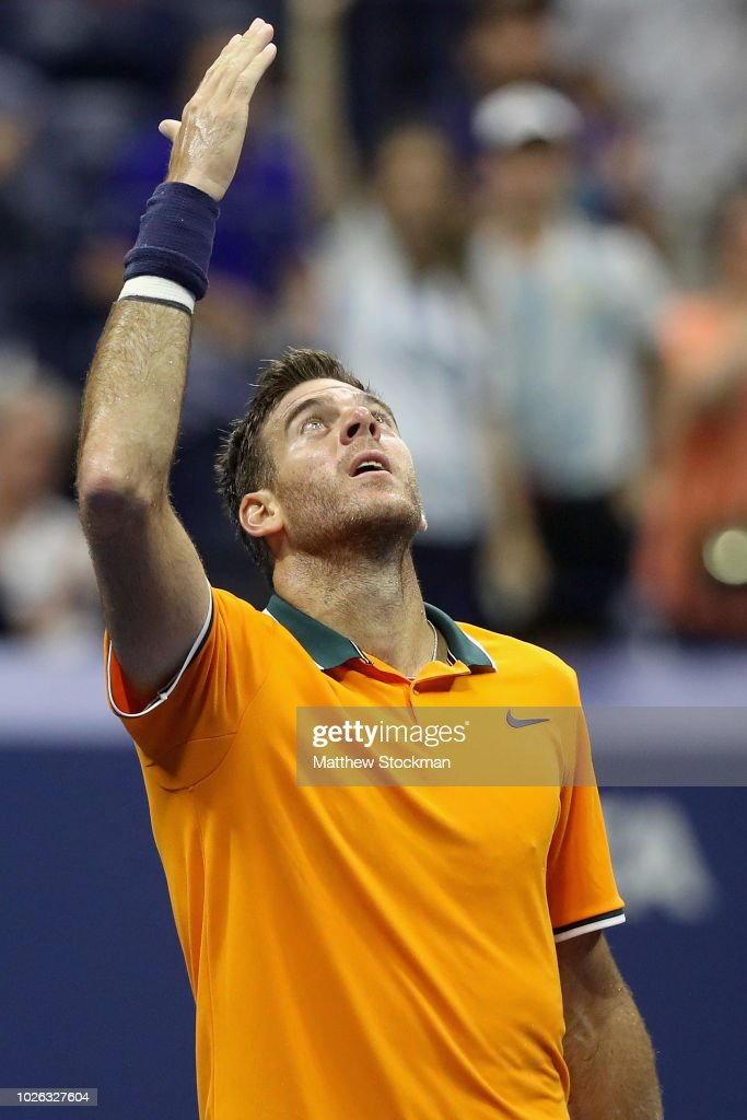 Juan Martin del Potro of Argentina celebrates after winning his men's singles fourth round match against Borna Coric of Croatia on Day Seven of the 2018 US Open at the USTA Billie Jean King National Tennis Center on September 2, 2018 in the Flushing neighborhood of the Queens borough of New York City.