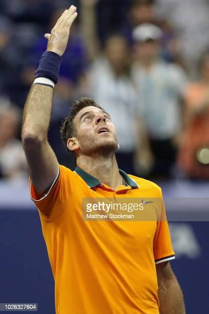 Juan Martin del Potro of Argentina celebrates after winning his men's singles fourth round match against Borna Coric of Croatia on Day Seven of the...
