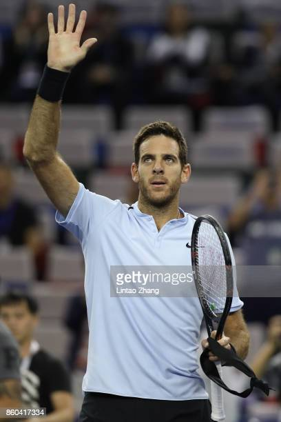 Juan Martin Del Potro of Argentina celebrates after winning the Men's singles mach third round against Alexander Zverev of Germany on day five of...