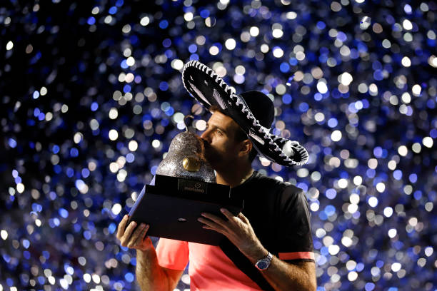 Juan Martin del Potro of Argentina celebrates after winning the Championship match between Kevin Anderson of South Africa and Juan Martin del Potro...