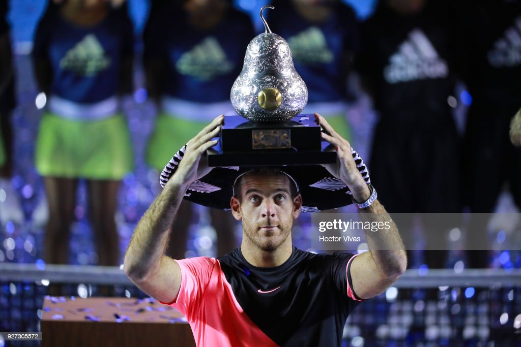Juan Martin del Potro of Argentina celebrates after winning the Championship match between Kevin Anderson of South Africa and Juan Martin del Potro of Argentina as part of the Telcel ATP Mexican Open 2018 at Mextenis Stadium on March 03, 2018 in Acapulco, Mexico.