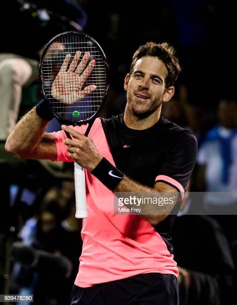 Juan Martin Del Potro of Argentina celebrates beating Milos Raonic of Canada 57 76 76 during the quarterfinals match on Day 10 of the Miami Open...