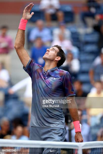 Juan Martin del Potro of Argentina celebrates defeating Henri Laaksonen of Switzerland after their first round Men's Singles match on Day Three of...