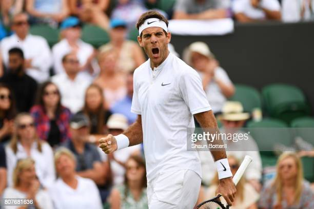 Juan Martin Del Potro of Argentina celebrates during his Gentlemen's Singles first round match against Thanasi Kokkinakis of Australia on day two of...