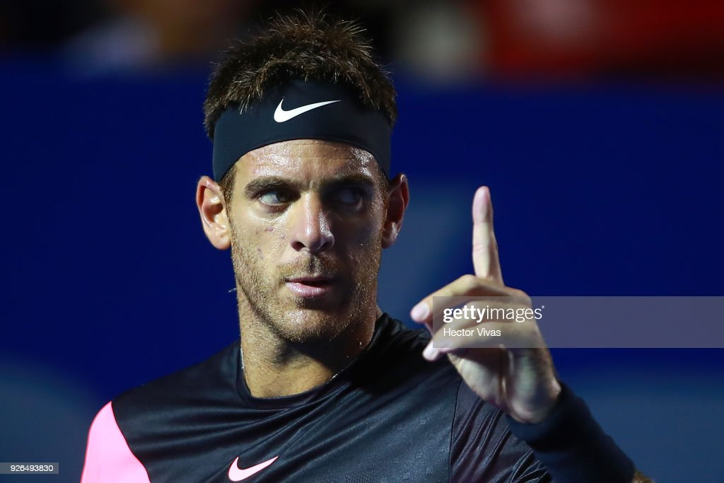 Juan Martin del Potro of Argentina celebrates during the match between Juan Martin del Potro of Argentina and Dominic Thiem of Austria as part of the Telcel ATP Mexican Open 2018 on March 01, 2018 in Acapulco, Mexico.