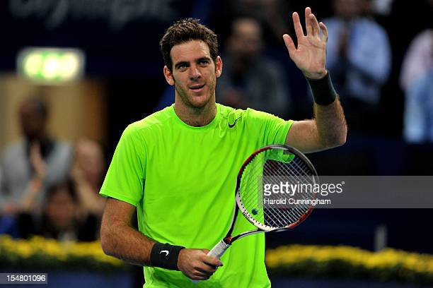 Juan Martin Del Potro of Argentina celebrates his victory after his Swiss Indoors ATP Tennis quarter-final match against Kevin Anderson of South...