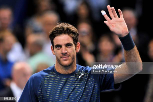 Juan Martin del Potro of Argentina celebrates his victory during Swiss Indoors ATP Tennis semifinal match against Edouard RogerVasselin of France at...