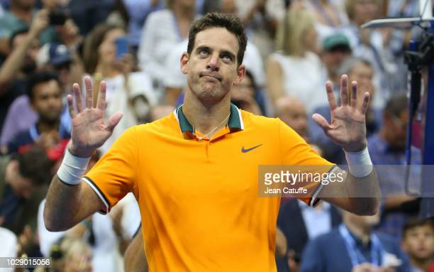 Juan Martin Del Potro of Argentina celebrates his win after Rafael Nadal of Spain defaulted in semifinal on day 12 of the 2018 US Open at Arthur Ashe...