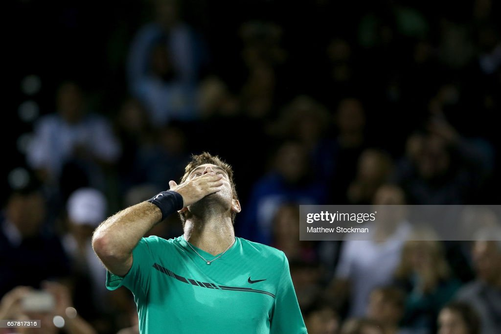 Juan Martin Del Potro of Argentina celebrates his win over Robin Hasse of Netherlands during the Miami Open at the Crandon Park Tennis Center on March 25, 2017 in Key Biscayne, Florida.