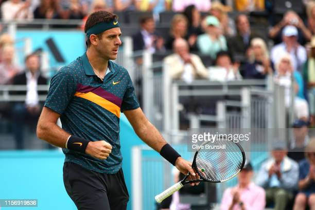 Juan Martin del Potro of Argentina celebrates match point after his First Round Singles Match against Denis Shapovalov of Canada during day Three of...