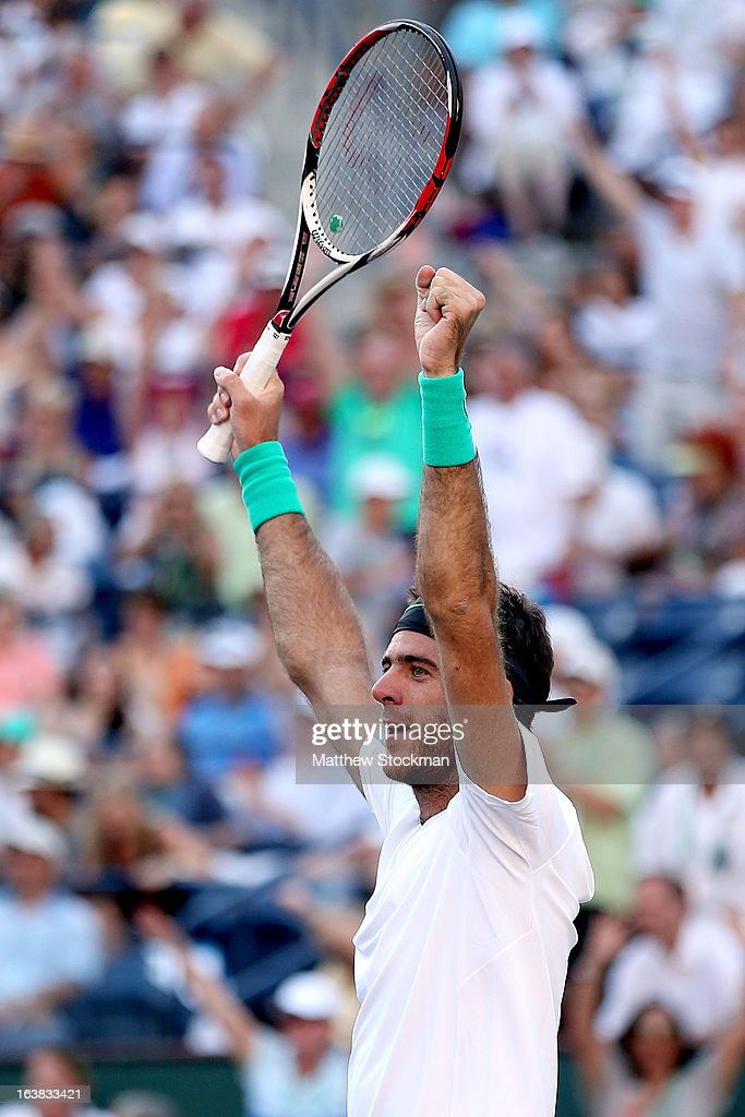 Juan Martin Del Potro of Argentina celebrates match point against Novak Djokovic of Serbia during the semifinals of the BNP Paribas Open at the Indian Wells Tennis Garden on March 16, 2013 in Indian Wells, California.