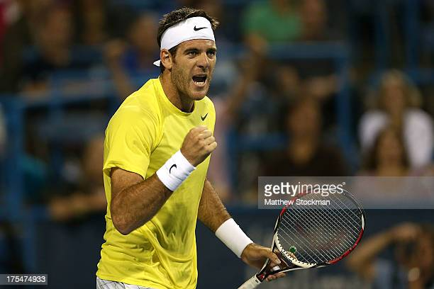 Juan Martin Del Potro of Argentina celebrates match point against Tommy Haas of Germany during the semifinals of the Citi Open at the William H.G....