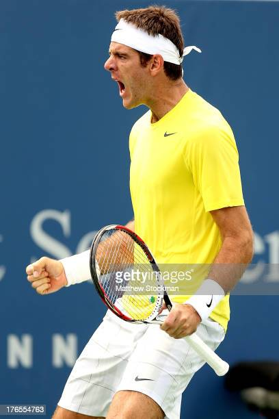 Juan Martin Del Potro of Argentina celebrates match point against Feliciano Lopez of Spain during the Western Southern Open on August 15 2013 at...