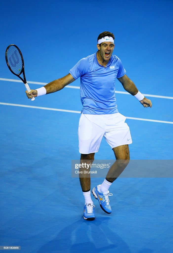 Juan Martin del Potro of Argentina celebrates match point during his singles match against Andy Murray of Great Britain during day one of the Davis Cup Semi Final between Great Britain and Argentina at Emirates Arena on September 16, 2016 in Glasgow, Scotland.