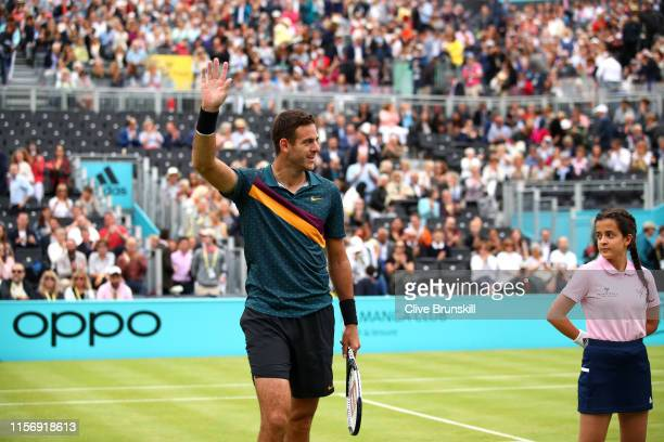Juan Martin del Potro of Argentina celebrates victory after his First Round Singles Match against Denis Shapovalov of Canada during day Three of the...