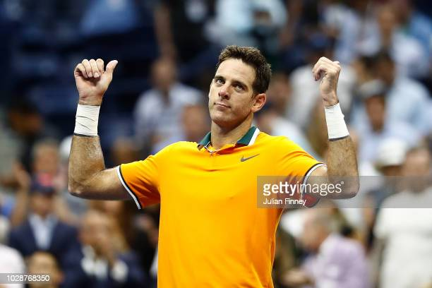 Juan Martin del Potro of Argentina celebrates victory after Rafael Nadal of Spain is forced to retire due to injury in his men's singles semifinal...
