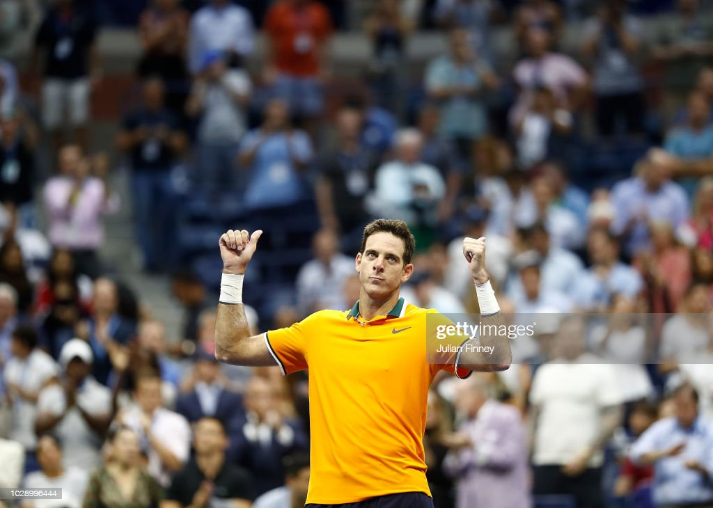 Juan Martin del Potro of Argentina celebrates victory after Rafael Nadal of Spain is forced to retire due to injury in his men's singles semi-final match on Day Twelve of the 2018 US Open at the USTA Billie Jean King National Tennis Center on September 7, 2018 in the Flushing neighborhood of the Queens borough of New York City.