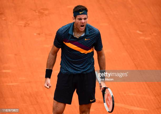 Juan Martin Del Potro of Argentina celebrates victory during his mens singles second round match against Yoshihito Nishioka of Japan during Day five...