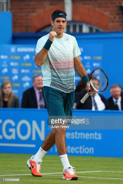 Juan Martin Del Potro of Argentina celebrates victory during the Men's Singles second round match against Xavier Malisse of Belgium on day two of the...
