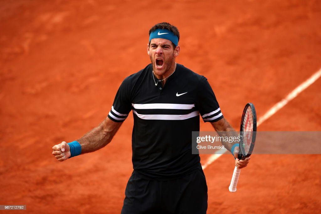 Juan Martin Del Potro of Argentina celebrates victory during the mens singles fourth round match against John Isner of The United States during day nine of the 2018 French Open at Roland Garros on June 4, 2018 in Paris, France.