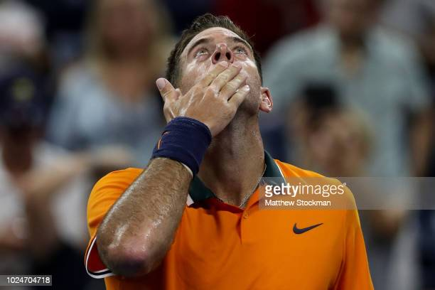 Juan Martin del Potro of Argentina celebrates winning his men's singles first round match against Donald Young of the United States on Day One of the...