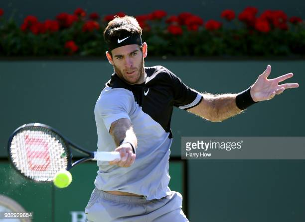 Juan Martin Del Potro of Argentina hits a forehand in his quarterfinal win over Philipp Kohlschreiber of Germany during the BNP Paribas Open at the...