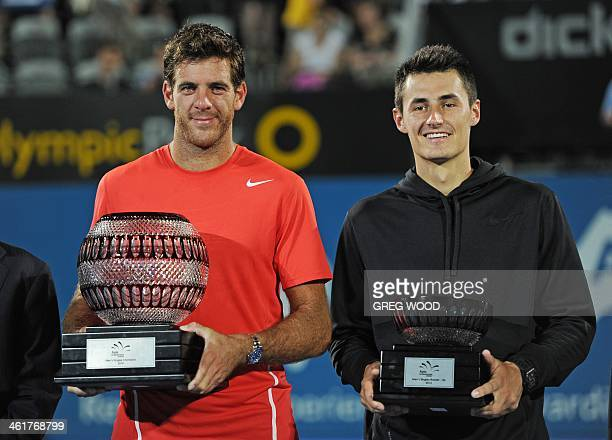 Juan Martin Del Potro of Argentina holds the winners trophy following his defeat of Australia's Bernard Tomic in the men's singles final at the APIA...