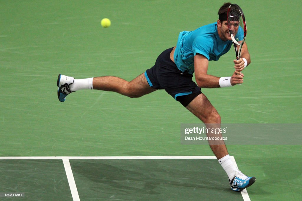 Juan Martin Del Potro of Argentina in action against Roger Federer of Switzerland in the Final on day 7 of the ABN AMRO World Tennis Tournament on February 19, 2012 in Rotterdam, Netherlands.