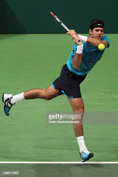 Juan Martin Del Potro of Argentina in action against Roger Federer of Switzerland in the Final on day 7 of the ABN AMRO World Tennis Tournament on...