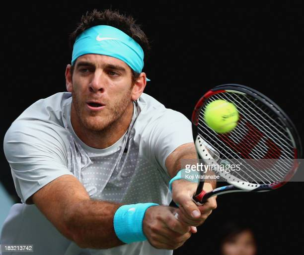Juan Martin Del Potro of Argentina in action during his men's singles final match against Milos Raonic of Canada on day seven of the Rakuten Open at...