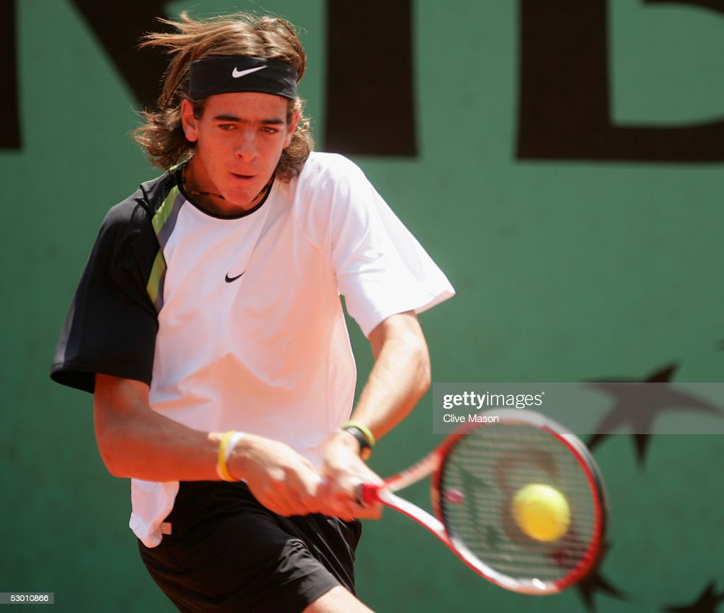 Juan Martin Del Potro of Argentina in action during his quarter-final boys singles match against Andrew Murray of Great Britain (Murray won 6-4, 6-2) during the eleventh day of the French Open at Roland Garros on June 2, 2005 in Paris, France.