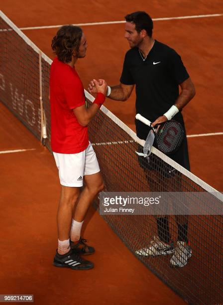 Juan Martin Del Potro of Argentina is congratulated by Stefanos Tsitsipas of Greece after their match during day four of the Internazionali BNL...