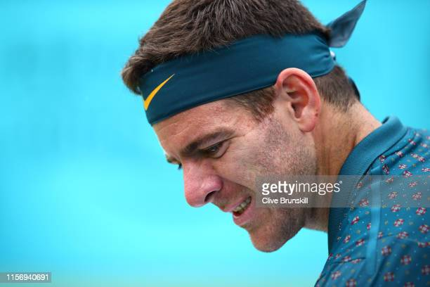 Juan Martin del Potro of Argentina looks on during his First Round Singles Match against Denis Shapovalov of Canada during day Three of the FeverTree...