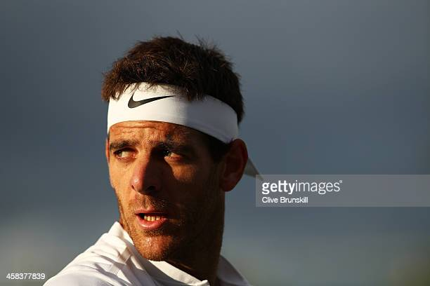 Juan Martin Del Potro of Argentina looks on during the Men's Singles third round match against Lucas Pouille of France on day six of the Wimbledon...