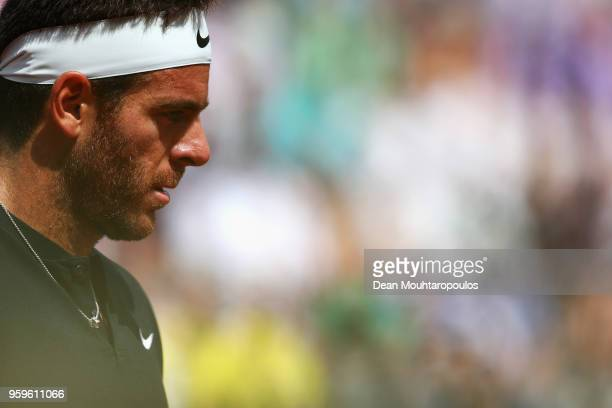 Juan Martin del Potro of Argentina looks on in his match against David Goffin of Belgium during day 5 of the Internazionali BNL d'Italia 2018 tennis...
