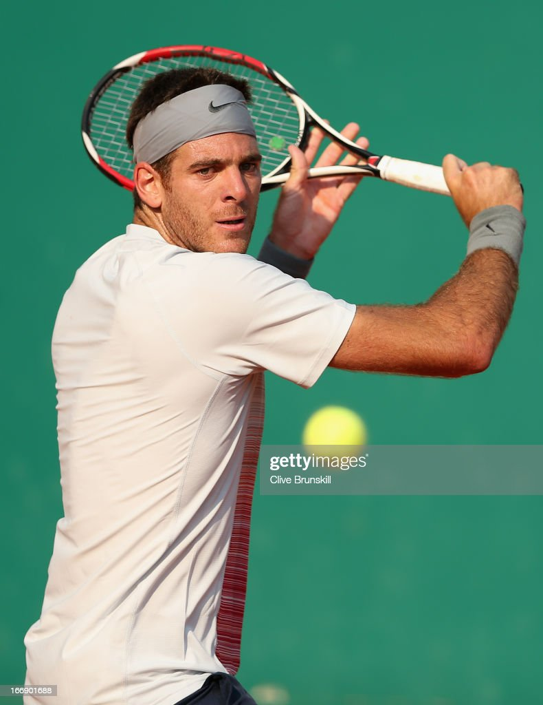 Juan Martin Del Potro of Argentina plays a backhand against Jarkko Nieminen of Finland in their third round match during day five of the ATP Monte Carlo Masters,at Monte-Carlo Sporting Club on April 18, 2013 in Monte-Carlo, Monaco.