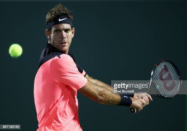 Juan Martin Del Potro of Argentina plays a backhand against Robin Haase of the Netherlands in their second round match during the Miami Open...