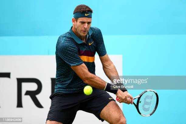 Juan Martin del Potro of Argentina plays a backhand during his First Round Singles Match against Denis Shapovalov of Canada during day Three of the...